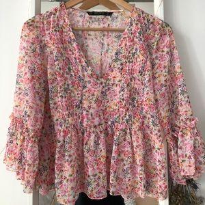 Zara pink floral chiffon blouse